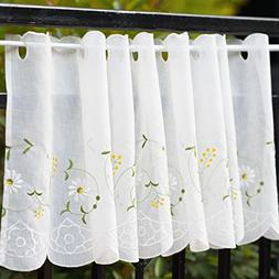 WeMay Panel Embroidery Pastoral Style Cafe Curtain Kitchen C