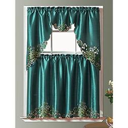 GOHD - PASSIONATE BLOOM Kitchen Curtain Set/ Swag Valance &