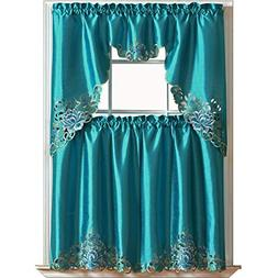 GOHD PASSIONATE BLOOM Kitchen Curtain Set/Swag valance & tie