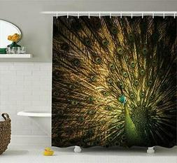 Ambesonne Peacock Decor Shower Curtain Set, Portrait of Male