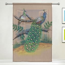 ALIREA Peacock Painting Sheer Curtain Panels Tulle Polyester