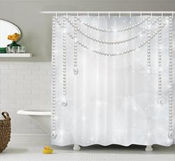 Pearls Decor Shower Curtain by Ambesonne, Decorative Diamond