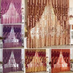 Peony Pattern Voile Curtains Room Window Curtain Tulle Sheer