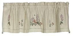 "Snapshots Phlox Embroidered Curtain Valance, 58""W x 14""L, Li"