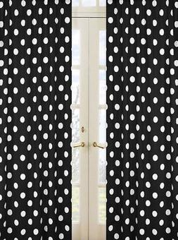 Sweet Jojo Pink Black White Polka Dot Window Treatment Panel