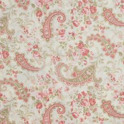 Pink Rose Paisley Soft Pink Olive Green Roses Ivory Window C