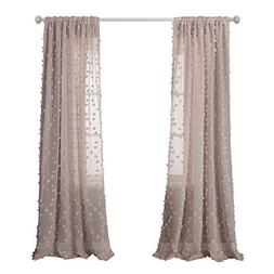 MYSKY HOME Pink Sheer Curtains for Girls Room Rod Pocket Rho