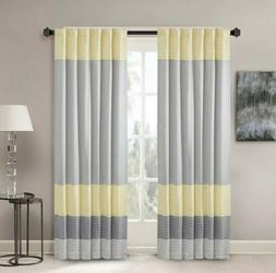 Madison Park Pintuck Window Curtain In Yellow And Gray Finis