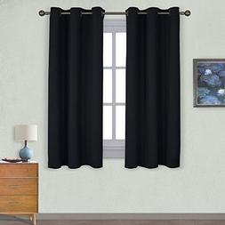 NICETOWN Pitch Black Solid Thermal Insulated Grommet Blackou