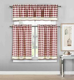 3 Piece Plaid, Checkered, Gingham Kitchen Curtain Set: 35% C