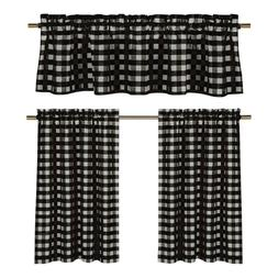 GoodGram 3 Pc. Plaid Country Chic Cotton Blend Kitchen Curta