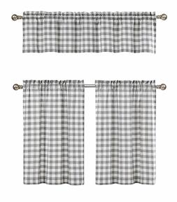 3 Pc. Plaid Country Chic Cotton Blend Kitchen Curtain Tier &
