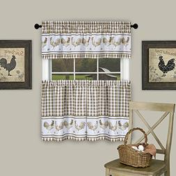 Serenity Home 3 Pc. Plaid Country Rooster Check Kitchen Curt