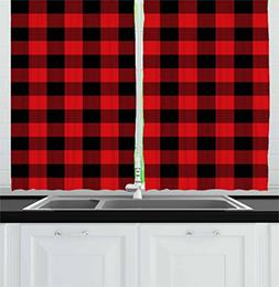 Ambesonne Plaid Kitchen Curtains, Lumberjack Fashion Buffalo