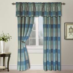 Plaid Rod Pocket Curtain Single Panel - Color: Blue / Green,