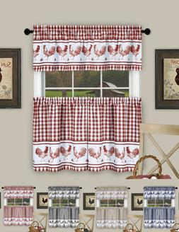 Plaid Rooster Kitchen Curtain Tier & Valance Set - Assorted