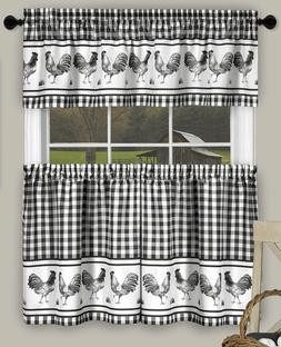 Plaid Rooster kitchen curtain Tier & Valances set Gingham Bl