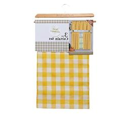 3 Piece Plaid, Checkered, Gingham 35% Cotton Kitchen Curtain