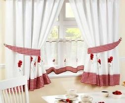 "POPPIES RED EMBROIDERED GINGHAM KITCHEN CURTAINS & 18"" CAF"