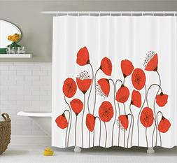Ambesonne Poppy Decor Shower Curtain Set, Poppy Flowers Blos