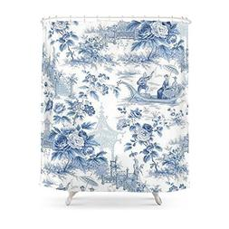 """Society6 Powder Blue Chinoiserie Toile Shower Curtain 71"""" by"""
