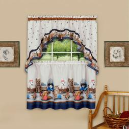 precious 3 piece printed kitchen curtain set