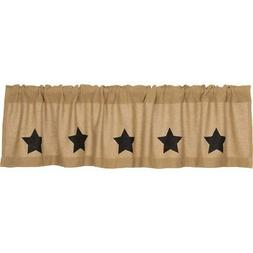 Primitive Kitchen Curtains Veranda Burlap Tan Stars Valance