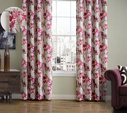 ChadMade Print Floral Blackout Lining Curtain Panel Drapes R