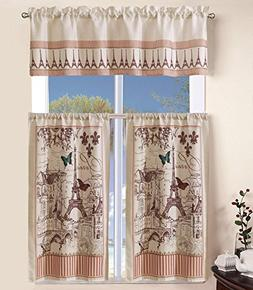 MarCielo 3 Piece Printed Floral Kitchen/Cafe Curtain With Sw