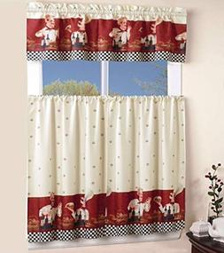 California Drapes 3PC Printed Kitchen Curtain, 1 Tailored Va