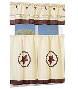 MarCielo 3 Piece Printed Western Texas Star Kitchen/Cafe Cur