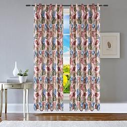 AUSWIND Printing Leaf Pattern Grommet Top Blackout Curtains
