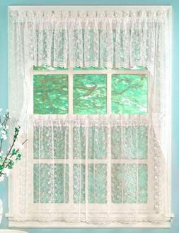 Priscilla Lace Kitchen Curtain Collection - White or Ivory -