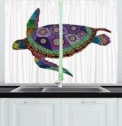 Psychedelic Decor Kitchen Curtains by Ambesonne, Sea Turtle