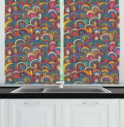 "Psychedelic Kitchen Curtains 2 Panel Set Window Drapes 55"" X"