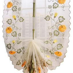 ZHH Pumpkin Vine Embroidered Sheer Tie-Up Roman Shade Room W