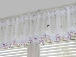 Purple Beads Curtain Sheer Valance Embroidered Kitchen Bedro