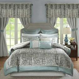 Queen Cal King Bed Bag Blue Gray Paisley Scroll 24 pc Comfor