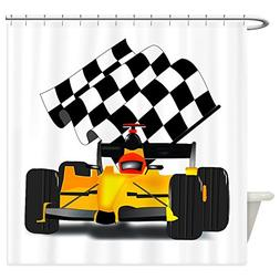 CafePress - Yellow Race Car With Checkered Flag - Decorative