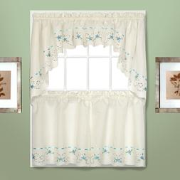 Rachael embroidered Kitchen Curtain - Blue - Tiers, Swags, V