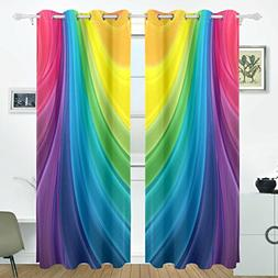 ALIREA Rainbow Colors Blackout Curtains Darkening Thermal In