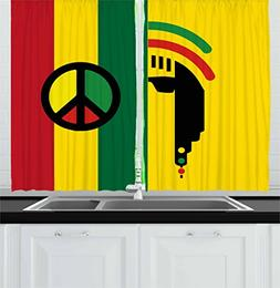Ambesonne Rasta Kitchen Curtains, Iconic Barret Reggae and J