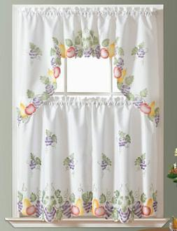 READY IN US 3pcs Kitchen curtain set, spray painted of FRUIT