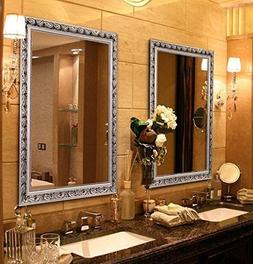 Large Rectangular Bathroom Mirror, Wall-Mounted Wooden Frame