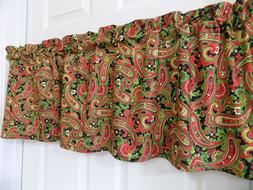 Red And Green Christmas Paisley Holiday Valance Window Curta