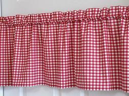 Red & White Gingham Check Valance Country Farmhouse Diner Cu