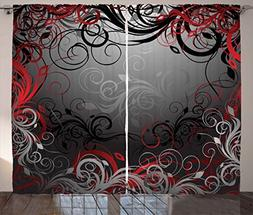 Ambesonne Red and Black Curtains, Mystic Magical Forest Insp