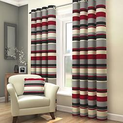 Tony's Textiles Pair Of Striped Lined Window Treatment Drape