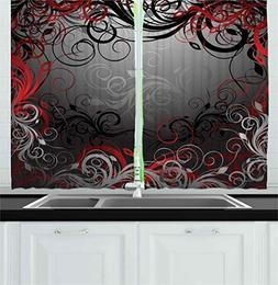 Ambesonne Red and Black Kitchen Curtains, Mystic Magical For