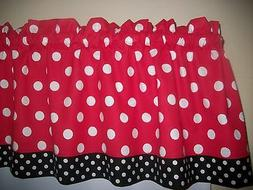 Red Black Polka Dot Mickey Minnie Mouse Kitchen fabric curta
